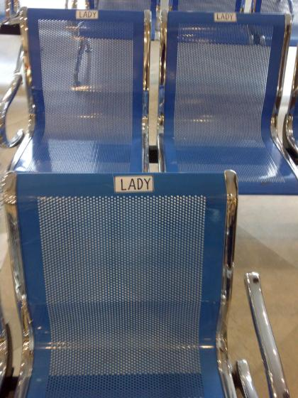 """Lady"" chairs at Al Quoz Post Office, Dubai. I'd love to see David Walliams do his ""I'm a lady!"" sketch there."