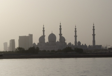 "Not our local mosque but the Grand Mosque in Abu Dhabi. I can kind of see where he got ""castle with the pointy bits"" from"