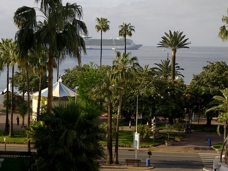 This is the cruise ship, Med and palm trees shot from DH's room. Am I jealous? Yes. Do I want to be there? Yes.