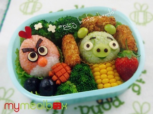 Darling boy, I'd love to send you an Angry Birds bento box, but a cheese sandwich will have to do