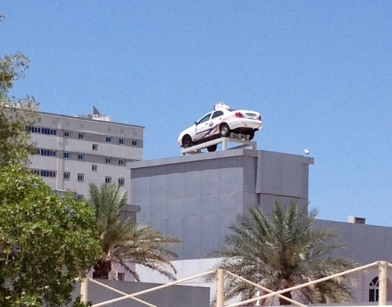 I know Dubai's getting busier and that parking's sometimes at a premium, but... seriously? Thanks to my friend A for this snap (it's my fault it's blurry)