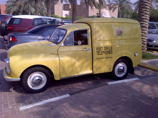 It's not every day you find a vintage London Post Office van parked outside a Dubai supermarket