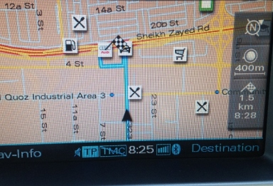 Finally the snobby Sat Nav guy concedes that, just maybe, we can get to the Audi dealer through AL Quoz.