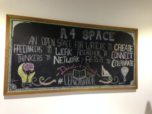 A4 Space - a useful blackboard told guests  what the space was for