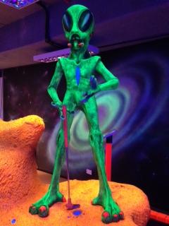 Glow-in-the-dark mini-golf with aliens. #OnlyinDubai